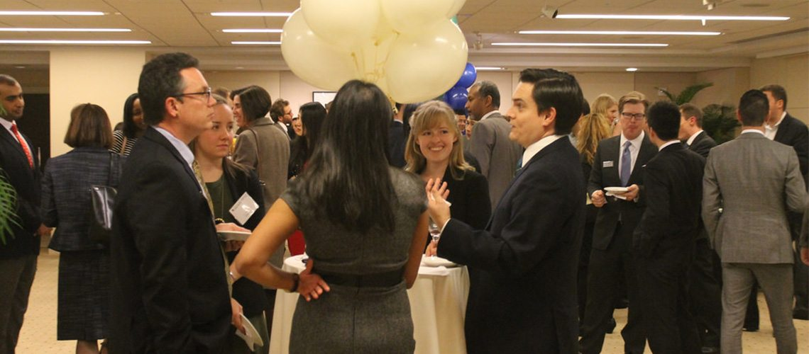busy networking event