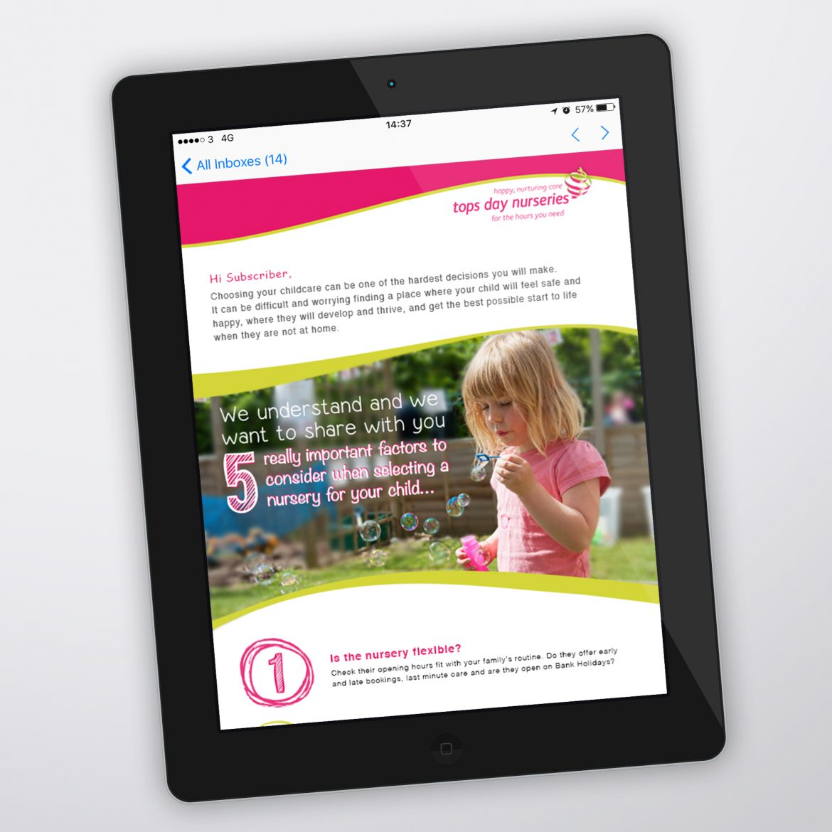 Tops Day Nursery Email Marketing