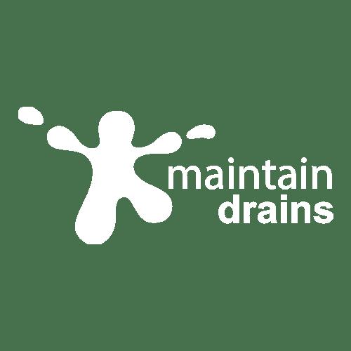 white maintain drains logo