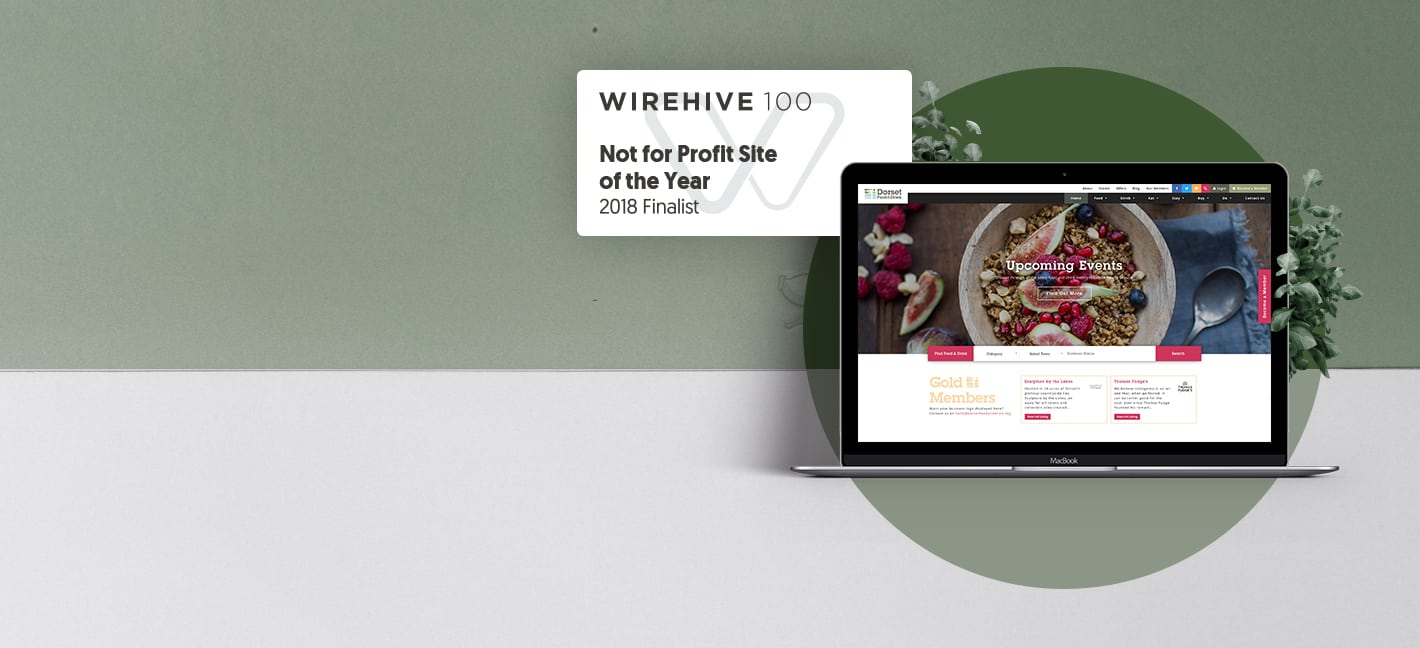 Dorset Food and Drink screenshot with WireHive finalists badge
